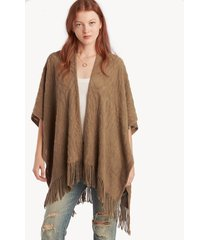 women's textured kimono with fringe olive one size from sole society