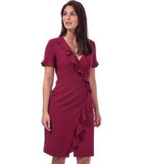 french connection alianor stretch v-neck frill dress size 10 in red