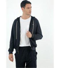 buzo de hombre, silueta confort clásica con capucha, color negro jaspeado