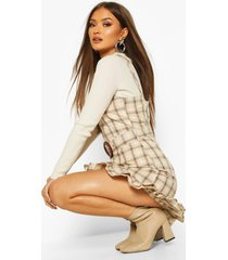 flannel belted pinafore dress, stone