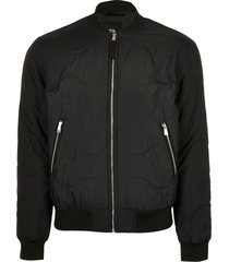 river island mens black quilted bomber jacket