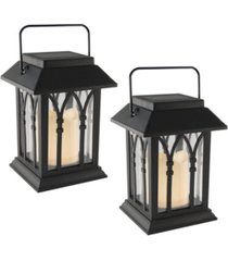 lumabase set of 2 black mini solar lanterns