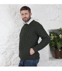 tweed shoulder merino crew neck sweater green xl