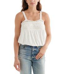 lucky brand crochet detail cotton & linen bubble tank top, size medium in cream at nordstrom