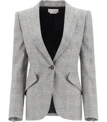 alexander mcqueen single-breasted prince of wales blazer