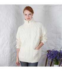 women's aran zipper cardigan cream large