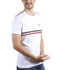 camiseta cuello redondo sesgos  blanco azul ref. 107061119
