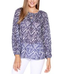 belldini black label printed burnout top with neck tie and blouson sleeve