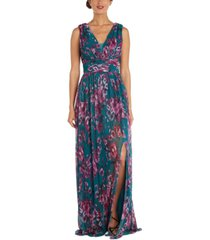 nightway petite v-neck floral-print gown