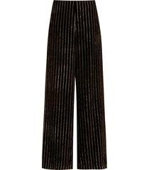 eva striped wide-leg trousers - black