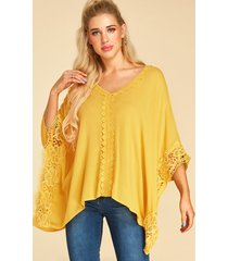 yoins blusa de media manga con cuello en v adornado con encaje de ganchillo amarillo