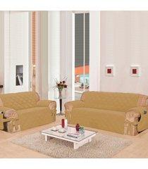 capa de sofá casa dona premium class bege laço e porta controle 2 e 3 lugares poliéster