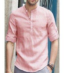 incerun hombre vendimia cuello alto con botones de lino camisa