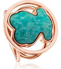 anillo camille de plata vermeil rosa con amazonita