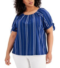 style & co plus size printed on/off-shoulder top, created for macy's