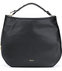 dkny braided hobo tote bag - black