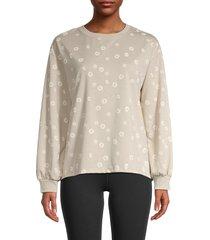 c & c california women's bishop-sleeve floral sweatshirt - cement - size xl