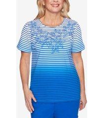 alfred dunner women's missy island hopping ombre stripe floral yoke t-shirt