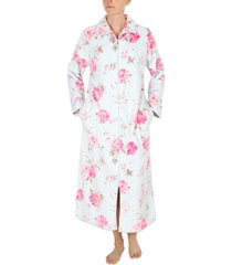 miss elaine floral-print french fleece long zipper robe