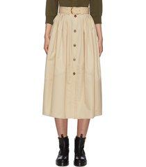 buttoned up cotton poplin midi skirt