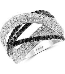 effy women's caviar 14k white gold, black & white diamond multi-band ring - size 7