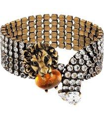 gucci lion head crystal-embellished bracelet - gold