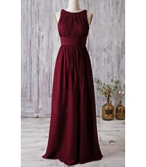 long scoop ruched sleeveless burgundy chiffon bridesmaid wedding gown dress 2017