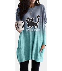 camicetta casual da donna con scollo a maniche lunghe con stampa di gatto