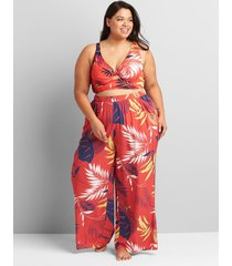 lane bryant women's wide leg cover-up pant 26/28 vibrant palms