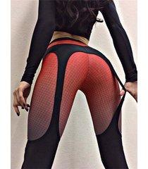 leggings deportivos de talle alto y patchwork súper elástico