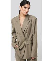 na-kd classic straight double breasted blazer - beige