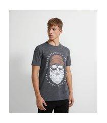camiseta com estampa caveira touca | blue steel | cinza | p
