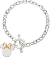 disney minnie mouse charm toggle bracelet in sterling silver & 18k gold-plate