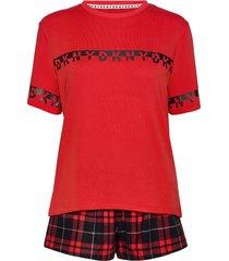 dkny 100% dkny top, boxer & eyemask box pyjama rood dkny homewear
