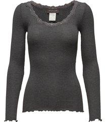 silk t-shirt regular ls w/rev vinta t-shirts & tops long-sleeved grijs rosemunde