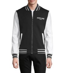 roberto cavalli sport men's logo baseball jacket - black - size xxl