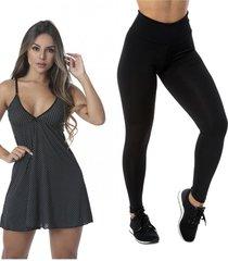 kit com 1 legging basic e 1 camisola sexy love - preto - feminino - dafiti