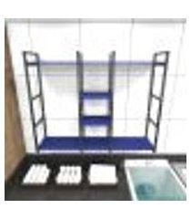 prateleira industrial lavanderia aço preto 120x30x98cm cxlxa mdf azul modelo ind47azlav