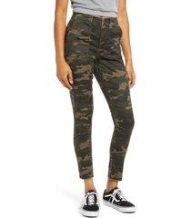 women's love, fire camo print skinny utility pants, size 29 - green