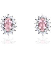 orecchini a lobo in oro bianco con topazio ovale colore rosa e contorno zirconi per donna