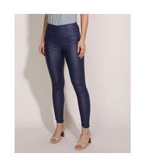 calça legging feminina cirrê cintura alta azul escuro