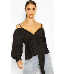 cold shoulder wraptie waist top, black