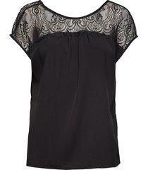 crepe lght sld lace mix v back blouses short-sleeved svart french connection