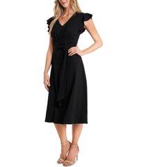 cece belted flutter-sleeve dress