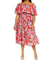 eliza j floral off the shoulder dress, size 16w in red at nordstrom