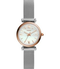 fossil carlie mini three-hand stainless steel watch 28mm