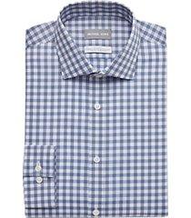 michael kors blue & black gingham slim fit dress shirt