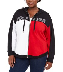tommy hilfiger sport plus size colorblocked hoodie