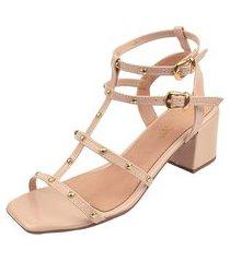 sandália rosa chic calçados gladiadora spike tachinhas bico quadrado salto bloco nude
