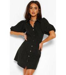 blouse jurk met pofmouwen en knoopjes, zwart